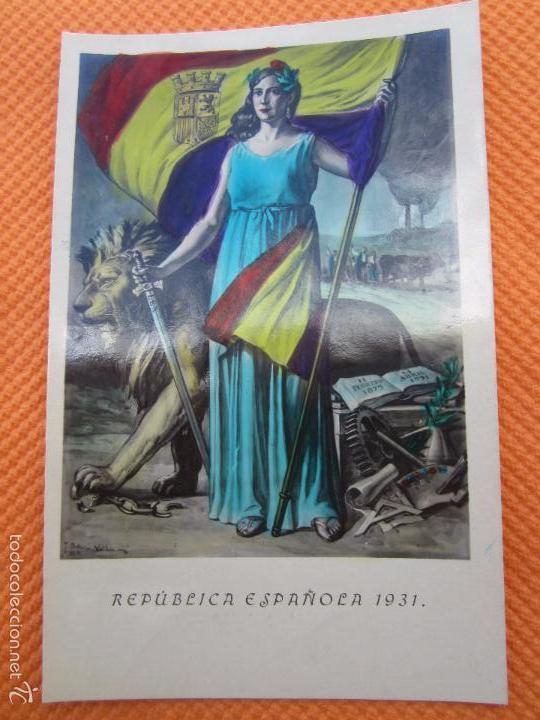 POSTAL REPUBLICA ESPAÑOLA , 1931 BANDERA REPUBLICANA (Postales - Postales Temáticas - Guerra Civil Española)