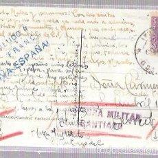 Postales: TARJETA POSTAL CON CENSURA MILITAR. SANTIAGO.. Lote 56732124