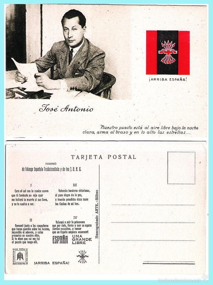 T. POSTAL: JOSE ANTONIO PRIMO DE RIVERA. ORIGINAL DE 1930. NUEVA. PROPAGANDA.REV. HIMNO DE FALANGE.. (Postales - Postales Temáticas - Guerra Civil Española)