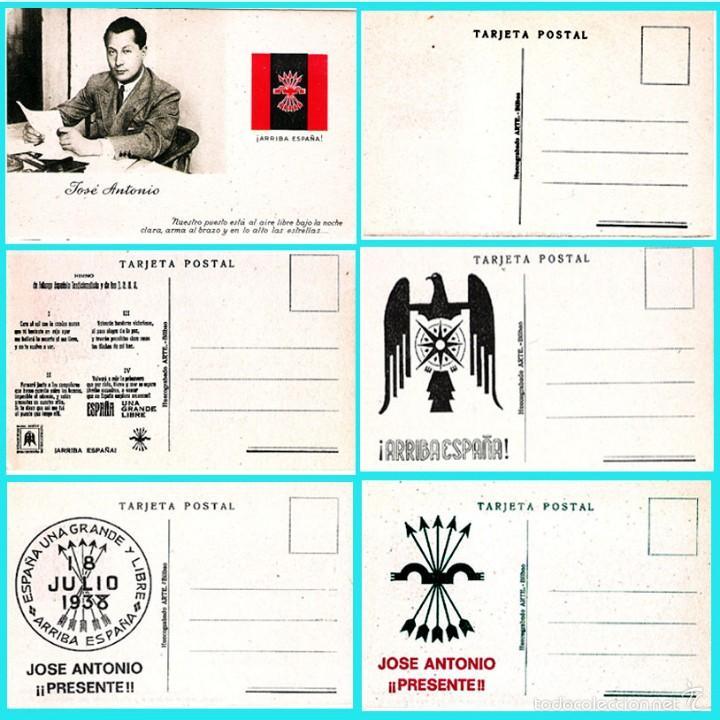 5 T P.DE JOSE ANTONIO PRIMO DE RIVERA. ORIGINAL DE 1930. NUEVAS. REV. PROPAGANDA VARIADA DE FALANGE. (Postales - Postales Temáticas - Guerra Civil Española)