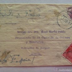 Postales: SOBRE CIRCULADO DE CADIZ A BURGOS A JOSE Mª PEMAN. 1937 : VIÑETA ARIJA , CUÑO MALAGA LIBERADA. Lote 57922896