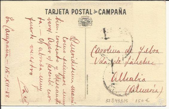Postales: TARJETA POSTAL DE CAMPAÑA. COMISARIADO DE GUERRA. EJERCITO DEL CENTRO.REPÚBLICA. CIRCULADA 1938. - Foto 2 - 32843315