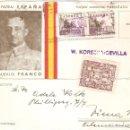 Postales: POSTAL PATRIOTICA DE FRANCO CON CENSURA MILITAR CIRCULADA EN 1938. Lote 58522120