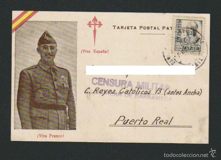 TARJETA POSTAL PATRIÓTICA.CON CENSURA MILITAR DE SANLUCAR DE BARRAMEDA.CIRCULADA EN 1937. (Postales - Postales Temáticas - Guerra Civil Española)