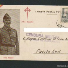 Postales: TARJETA POSTAL PATRIÓTICA.CON CENSURA MILITAR DE SANLUCAR DE BARRAMEDA.CIRCULADA EN 1937.. Lote 61247323