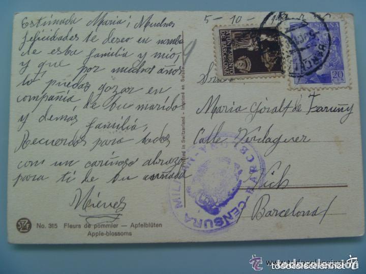 GUERRA CIVIL : POSTAL DE FLORES . CENSURA MILITAR Y VIÑETA DE BARCELONA (Postales - Postales Temáticas - Guerra Civil Española)
