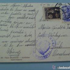 Postales: GUERRA CIVIL : POSTAL DE FLORES . CENSURA MILITAR Y VIÑETA DE BARCELONA. Lote 61515907
