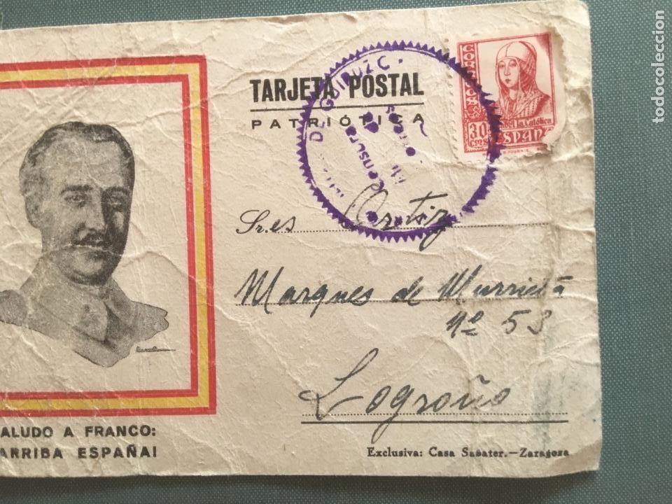 TARJETA ENTERO POSTAL PATRIOTICA 1938 CIRCULADA SAN SEBASTIÁN A LOGROÑO (Postales - Postales Temáticas - Guerra Civil Española)