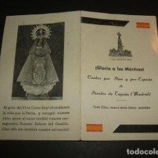 Postales: PERALES DE TAJUÑA MADRID RECORDATORIO CAIDOS GUERRA CIVIL 1939 MILITARES CIVILES Y RELIGIOSOS. Lote 64348011