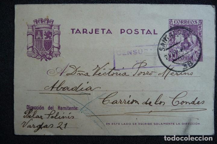 (JX-161151)TARJETA POSTAL ENVIADA DESDE SANTANDER A CARRIÓN DE LOS CONDES , GUERRA CIVIL (Postales - Postales Temáticas - Guerra Civil Española)