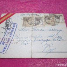 Postales: POSTAL CENSURA MILITAR GUERRA CIVIL ESPAÑOLA 1939 CARTA A UN SOLDADO VIGO. Lote 68399237