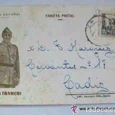 Postales: GUERRA CIVIL : TARJETA POSTAL PATRIOTICA CON FRANCO Y SELLO . ENVIADA DE BILBAO A CADIZ, 1937.. Lote 70587233