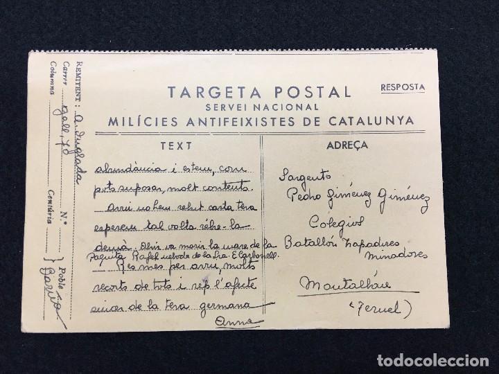 TARGETA POSTAL. SERVEI NACIONAL. MILÍCIES ANTIFEIXISTES DE CATALUNYA. ESCRITA Y ENVIADA. 1937. (Postales - Postales Temáticas - Guerra Civil Española)