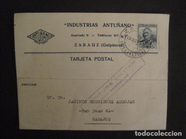 POSTAL PUBLICIDAD - ANTUÑANO -ZARAUZ - GUERRA CIVIL -CENSURA MILITAR 1936-VER FOTOS -(V-8828) (Postales - Postales Temáticas - Guerra Civil Española)