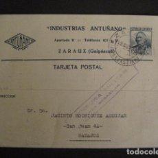 Postales: POSTAL PUBLICIDAD - ANTUÑANO -ZARAUZ - GUERRA CIVIL -CENSURA MILITAR 1936-VER FOTOS -(V-8828). Lote 75257275