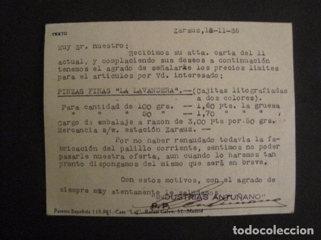 Postales: POSTAL PUBLICIDAD - ANTUÑANO -ZARAUZ - GUERRA CIVIL -CENSURA MILITAR 1936-VER FOTOS -(V-8828) - Foto 3 - 75257275