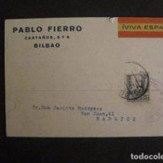 Postales: POSTAL PUBLICIDAD -PABLO FIERRO-BILBAO - GUERRA CIVIL -CENSURA MILITAR 1937-VER FOTOS -(V-8830). Lote 75257435