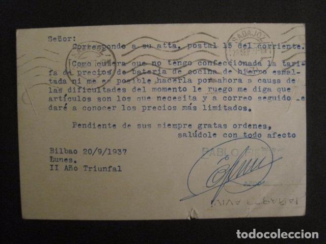Postales: POSTAL PUBLICIDAD -PABLO FIERRO-BILBAO - GUERRA CIVIL -CENSURA MILITAR 1937-VER FOTOS -(V-8830) - Foto 3 - 75257435