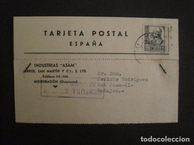 POSTAL PUBLICIDAD -ASAM -MONDRAGON - GUERRA CIVIL -CENSURA MILITAR 1937-VER FOTOS -(V-8831) (Postales - Postales Temáticas - Guerra Civil Española)