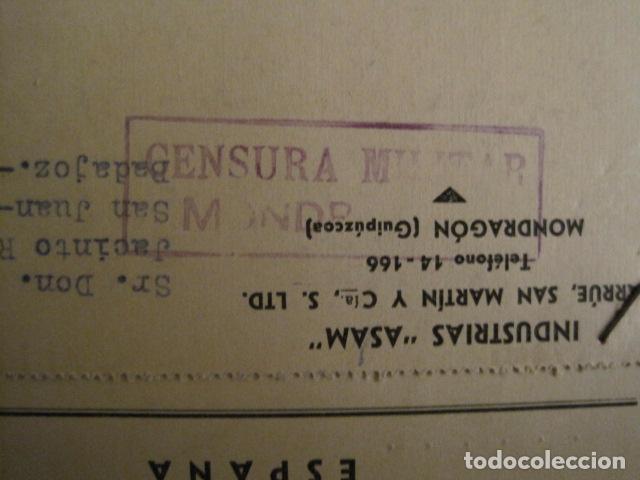 Postales: POSTAL PUBLICIDAD -ASAM -MONDRAGON - GUERRA CIVIL -CENSURA MILITAR 1937-VER FOTOS -(V-8831) - Foto 2 - 75257491