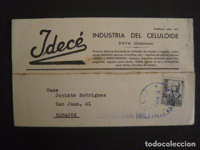 POSTAL PUBLICIDAD -IDECE -DEVA -CENSURA MILITAR 1938-VER FOTOS -(V-8832) (Postales - Postales Temáticas - Guerra Civil Española)