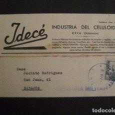 Postales: POSTAL PUBLICIDAD -IDECE -DEVA -CENSURA MILITAR 1938-VER FOTOS -(V-8832). Lote 75257631