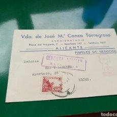 Postales: POSTAL CON SELLO DE CENSURA MILITAR. 1939. DE ALICANTE ELCHE. CON SELLOS. Lote 76750461