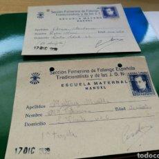 Postales: DOS POSTALES ORIGINALES DE FALANGE. 1939. ESCUELA MATERNAL. CON SELLOS DE PRIMO DE RIVERA.. Lote 76758590