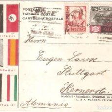 Postales: POSTAL FRANCO HITLER Y MUSSOLINI COLABORACIÓN SEGUNDA GUERRA MUNDIAL 1937. Lote 140343202