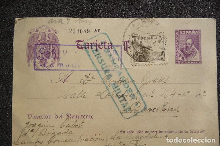 (JX-170436) TARJETA POSTAL ENVIADA POR PRISIONERO REPUBLICANO CAMPO DE CONCENTRACIÓN DE LA MAGDALENA (Postales - Postales Temáticas - Guerra Civil Española)