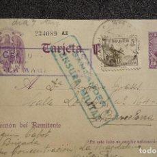 Postales: (JX-170436) TARJETA POSTAL ENVIADA POR PRISIONERO REPUBLICANO CAMPO DE CONCENTRACIÓN DE LA MAGDALENA. Lote 85057924