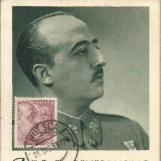 Postales: A. S.E. EL GENERALISIMO - EXTRAÑA POSTAL CON MATASELLOS DE HUESCA A.38?. Lote 85123732