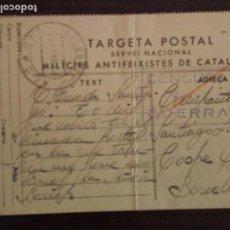 Postales: 28-11-1938 ALCAÑIZ TERUEL MILICIAS ANTIFASCISTAS SELLO Y CENSURA DE GUERRA GUERRA CIVIL. Lote 86634256
