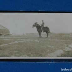 Postales: POSTAL FOTOGRAFICA GUERRA CIVIL MILICIANO A CABALLO FRENTE DE ARAGON 1936-37 14X9 CM.. Lote 93691950