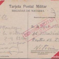 Postales: TARJETA POSTAL MILITAR - BRIGADAS DE NAVARRA -CARLISMO. CENSURA MILITAR DE VITORIA. Lote 97540935