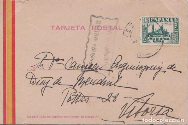 TARJETA POSTAL - CENSURA MILITAR DE VILLAFRANCA DE ORIA (GUIPUZCOA) SELLO JUNTA DE DEFENSA. (Postales - Postales Temáticas - Guerra Civil Española)