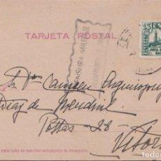 Postales: TARJETA POSTAL - CENSURA MILITAR DE VILLAFRANCA DE ORIA (GUIPUZCOA) SELLO JUNTA DE DEFENSA.. Lote 97541015