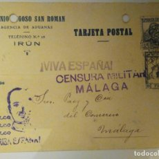 Postales: POSTAL CON CENSURA MILITAR. MÁLAGA. 1936. Lote 99679875
