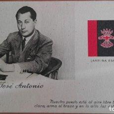 Postales: POSTAL GUERRA CIVIL BANDO NACIONAL JOSE ANTONIO PRIMO DE RIVERA EDIC ARTE BILBAO FALANGE JONS FRANCO. Lote 101280219