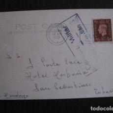 Postales: POSTAL ANTIGUA - CENSURA MILITAR - SAN SEBASTIAN -VER FOTOS - (50.948). Lote 103333519