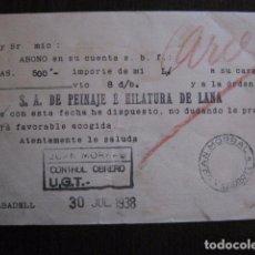 Postales: POSTAL ANTIGUA - CONTROL OBRERO UGT JULIO 1938 - GUERRA CIVIL -VER FOTOS - (50.950). Lote 103333747