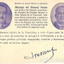 Postales: TARJETA POSTAL RECUERDO DE NUESTRA GUERRA DE LIBERACION MENSAJE DEL GENERAL VARELA FRANCO. Lote 103685115