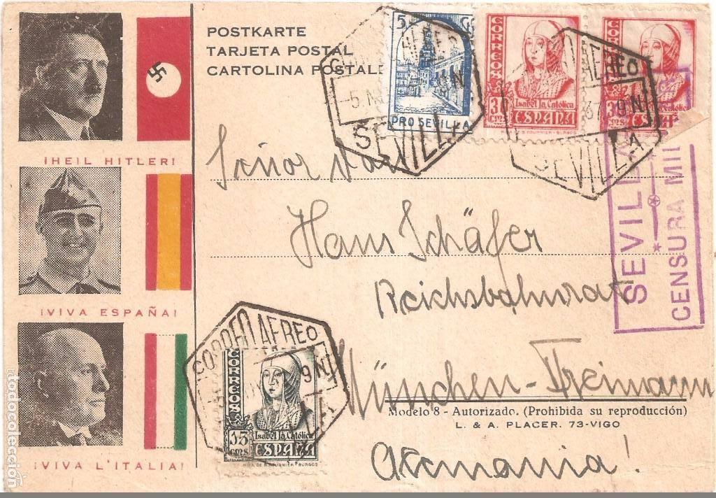 POSTAL FRANCO HITLER Y MUSSOLINI COLABORACIÓN SEGUNDA GUERRA MUNDIAL ENVIADO DESDE SEVILLA ALEMANIA (Postales - Postales Temáticas - Guerra Civil Española)