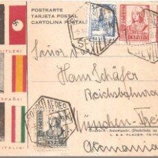 Postales: POSTAL FRANCO HITLER Y MUSSOLINI COLABORACIÓN SEGUNDA GUERRA MUNDIAL ENVIADO DESDE SEVILLA ALEMANIA . Lote 104071707