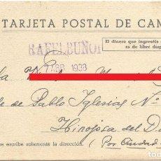Postales: ENTERO POSTAL - TARJETA POSTAL DE CAMPAÑA - SELLO EN TINTA RAFELBUÑOL - VALENCIA - 7 ABRIL 1938. Lote 109396099