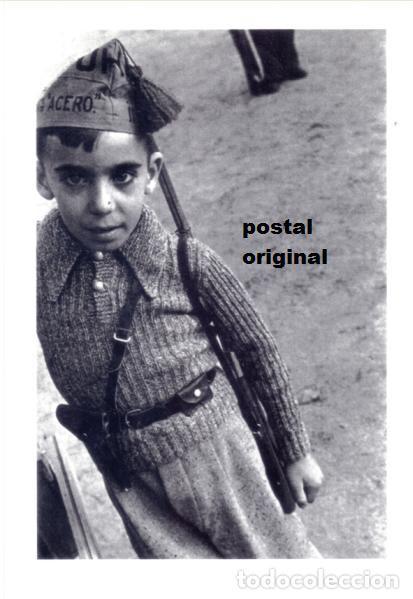 POSTAL FOTO ROBERT CAPA NIÑO CON GORRILLO MILICIANO UHP GUERRA CIVIL 1936 (Postales - Postales Temáticas - Guerra Civil Española)