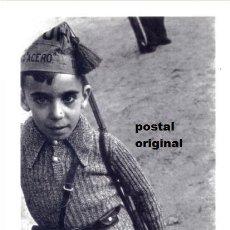 Postcards - POSTAL FOTO ROBERT CAPA NIÑO CON GORRILLO MILICIANO UHP GUERRA CIVIL 1936 - 110677503