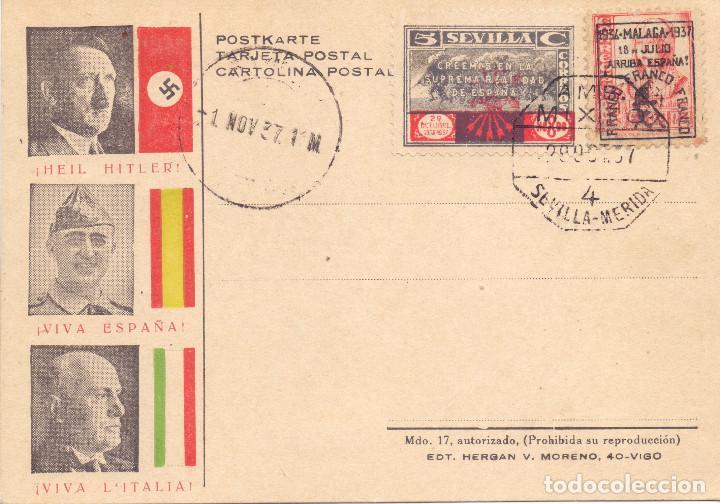RARA TARJETA POSTAL PATRIOTICA HITLER FRANCO DUCE SEVILLA 1937 GUERRA CIVIL (Postales - Postales Temáticas - Guerra Civil Española)