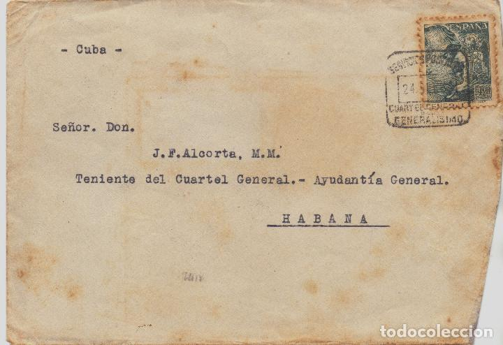 RARO SOBRE DESTINO HABANA(CUBA) MATASELLOS CUARTEL GENERAL GENERALISIMO FRANCO GUERRA CIVIL (Postales - Postales Temáticas - Guerra Civil Española)