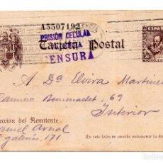 Postales: VALENCIA.- POSTAL MANDADA DESDE LA PRISIÓN CELULAR DE VALENCIA. CENSURA - GUERRA CIVIL. Lote 115133999